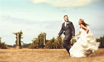 View Photo - Bride and groom holding hands through vineyard