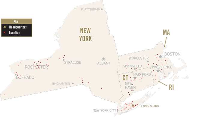 Food Service Management NY, NJ, CT, RI, MA region map
