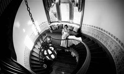 View Photo #14 - Bride smiling by spiral staircase
