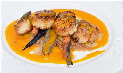 View Photo #8 - Pan Roasted Scallops with wilted sweet onions, roasted heirloom carrots, carrot mustard vinaigrette