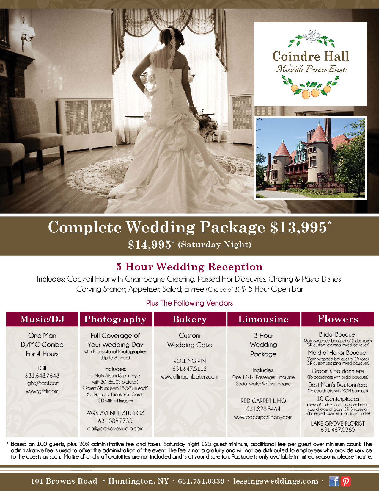 Weddings Wedding Reception Package Tail Off Season Complete